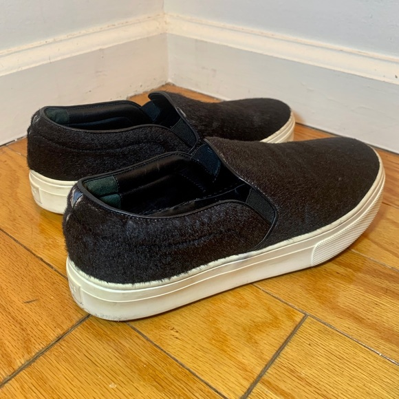 Faux Fur Pull On Trainers Black